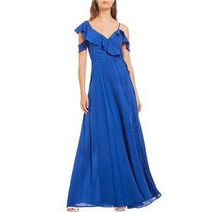 NWT Sugarlips Blue Ruffle Wrap Maxi Dress